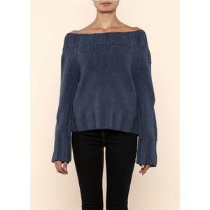 Free People Blue Beachy Slouchy Pullover Sweater